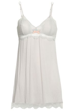 EBERJEY Bow-embellished lace and stretch-jersey chemise