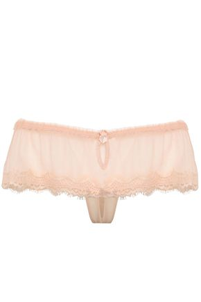 MIMI HOLLIDAY by DAMARIS Cutout lace-trimmed tulle mid-rise briefs