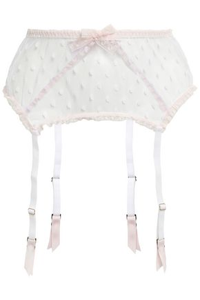 MIMI HOLLIDAY by DAMARIS Bow-embellished point d'esprit suspender belt