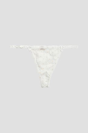MIMI HOLLIDAY by DAMARIS Lace-trimmed printed organza low-rise thong