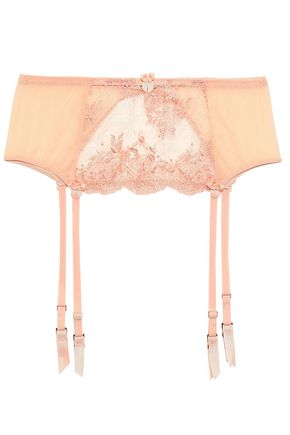 MIMI HOLLIDAY by DAMARIS Lace and tulle-paneled suspender belt
