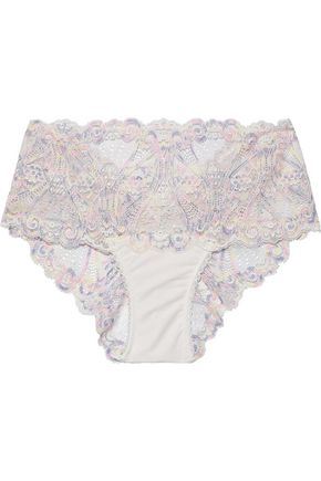 MIMI HOLLIDAY by DAMARIS Pina Colada embroidered Leavers lace mid-rise briefs