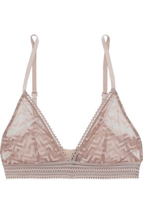 ELSE Cutout embroidered mesh soft-cup triangle bra