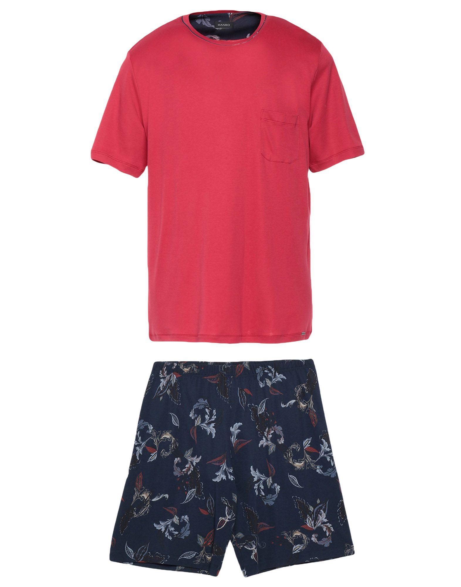 《期間限定セール中》HANRO メンズ パジャマ レッド S コットン 100%