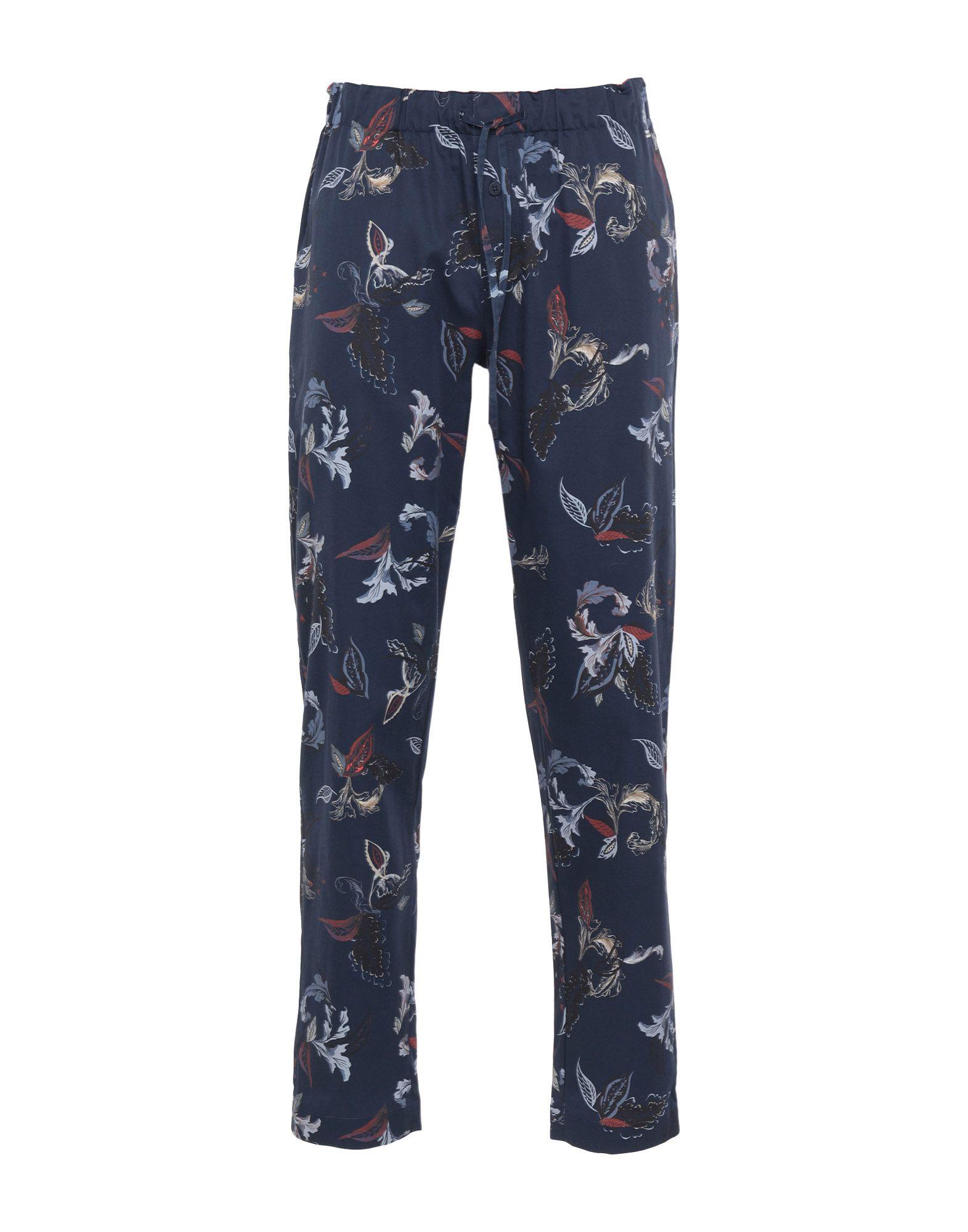 《期間限定セール中》HANRO メンズ パジャマ ダークブルー M コットン 100%