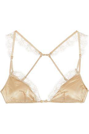 KIKI DE MONTPARNASSE Sensual lace-trimmed stretch-silk satin soft-cup bra