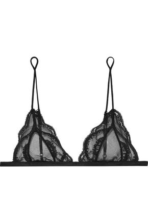 KIKI DE MONTPARNASSE Lace-trimmed tulle soft-cup triangle bra