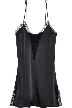 KIKI DE MONTPARNASSE Lace-trimmed stretch-silk satin chemise