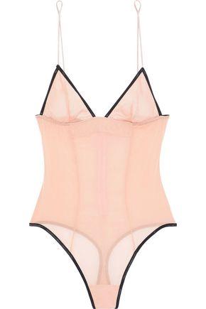 KIKI DE MONTPARNASSE Idole stretch-silk chiffon thong bodysuit
