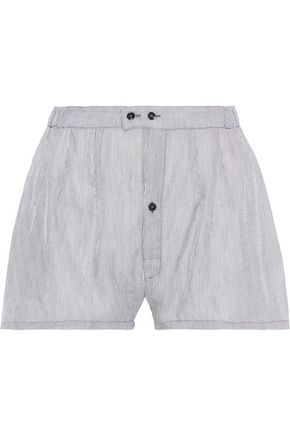 KIKI DE MONTPARNASSE Striped cotton and silk-blend pajama shorts