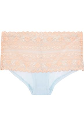 COSABELLA Oceano Leavers lace and point d'esprit mid-rise briefs