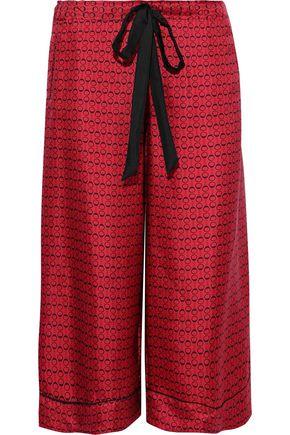 KIKI DE MONTPARNASSE Desir cropped printed silk-twill wide-leg pants
