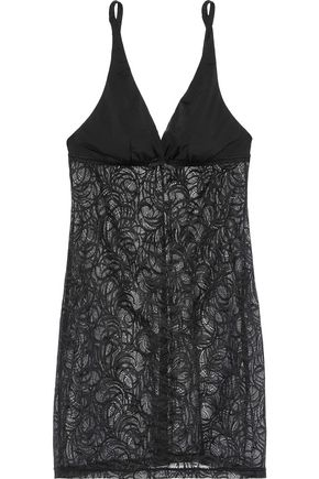 COSABELLA Evolved stretch jersey-paneled lace chemise