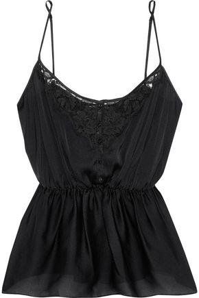KIKI DE MONTPARNASSE Le Reve lace-trimmed silk-satin camisole