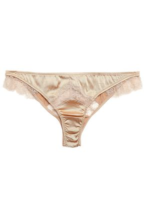 KIKI DE MONTPARNASSE Lace-trimmed silk-blend satin low-rise briefs