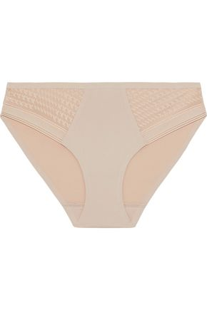 SIMONE PÉRÈLE Muse Leavers lace-paneled stretch-jersey mid-rise briefs