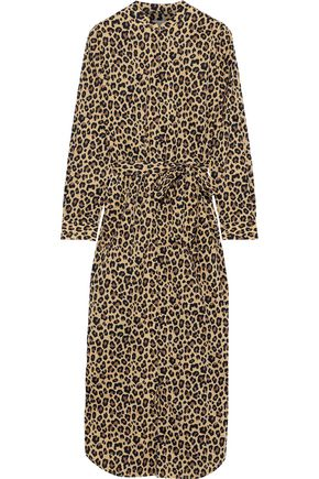YOLKE Belted leopard-print cotton-poplin nightdress