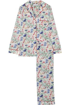 YOLKE Grosgrain-trimmed cotton-poplin pajama set