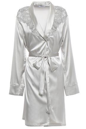 I.D. SARRIERI Lace-paneled silk-blend satin robe