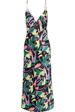 OLIVIA VON HALLE Issa printed silk-satin nightdress