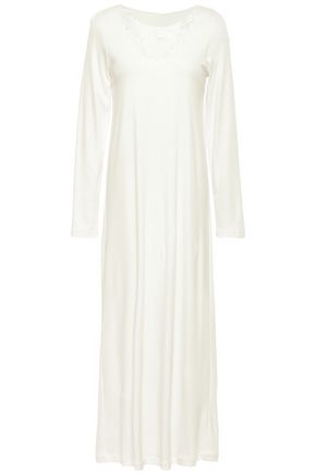HANRO Lace-trimmed cotton-jersey nightdress
