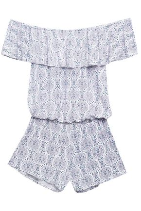 EBERJEY Timba off-the-shoulder printed stretch-jersey playsuit