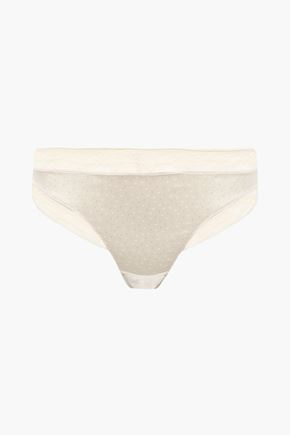 ERES Farniente Oisiveté Swiss-dot satin and Leavers lace mid-rise thong