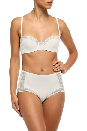 ERES Paroles Ohlala Leavers lace-trimmed embossed jersey balconette bra