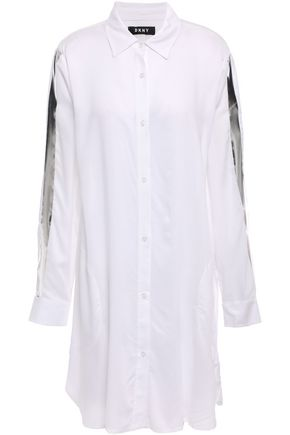 DKNY Metallic-trimmed woven nightshirt
