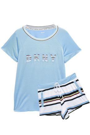 DKNY Mélange printed stretch-jersey pajama set