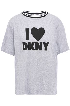 DKNY Printed cotton-blend jersey pajama top