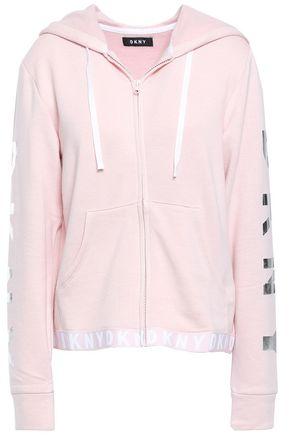 DKNY Monogram-trimmed fleece hoodie