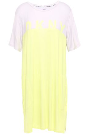 DKNY Two-tone stretch-jersey nightshirt