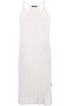 DKNY Metallic-trimmed mélange stretch-jersey chemise