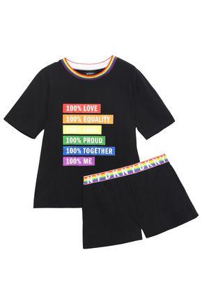 DKNY Printed cotton-blend jersey pajama set