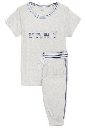 DKNY Appliquéd striped stretch-jersey pajama set