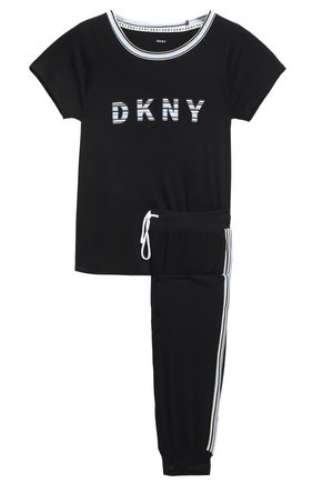 DKNY Embroidered printed stretch-jersey pajama set