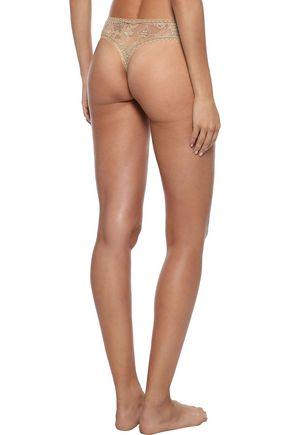 ERES Bijoux Doux satin-trimmed stretch-lace mid-rise thong