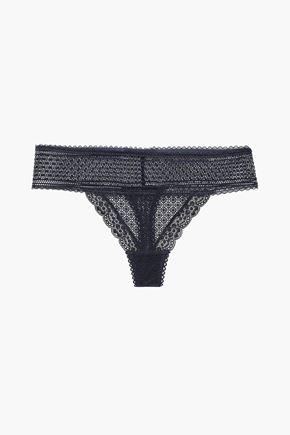STELLA McCARTNEY Katie scalloped stretch-lace mid-rise thong