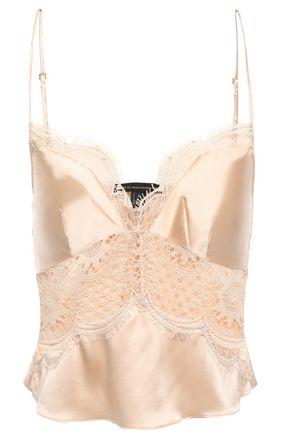 KIKI DE MONTPARNASSE Grand Soleil cropped lace-paneled silk-charmeuse camisole
