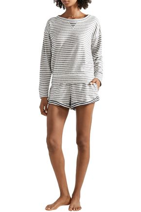 Skin Charlie Striped Cotton-jersey Pajama Top In Navy