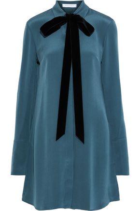 OLIVIA VON HALLE Heroine pussy-bow washed-silk nightshirt