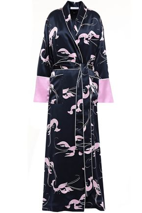 OLIVIA VON HALLE Constance printed silk-satin robe