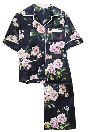 OLIVIA VON HALLE Daria cropped silk-charmeuse pajama set