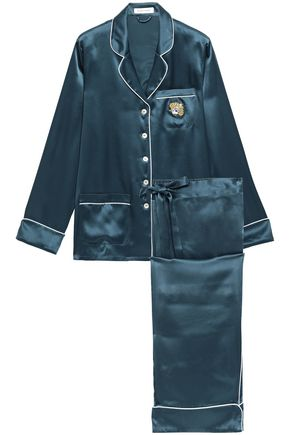 OLIVIA VON HALLE Clarice embellished silk-satin pajama set