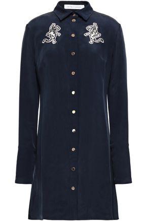 OLIVIA VON HALLE Heroine appliquéd washed-silk nightshirt