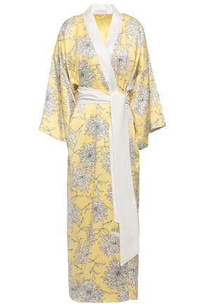 OLIVIA VON HALLE Queenie Kira floral-print silk-satin robe