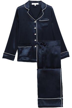 OLIVIA VON HALLE Coco appliquéd silk-charmeuse pajama set