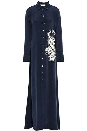 OLIVIA VON HALLE Hero appliquéd washed-silk nightdress