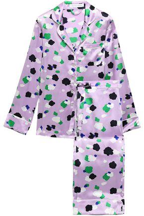 OLIVIA VON HALLE Lila printed silk-charmeuse pajama set